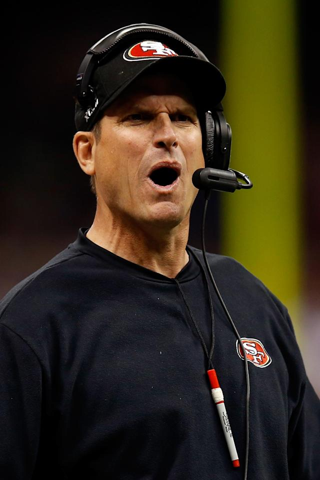 NEW ORLEANS, LA - FEBRUARY 03: Head coach Jim Harbaugh of the San Francisco 49ers reacts to a play in the first quarter against the Baltimore Ravens during Super Bowl XLVII at the Mercedes-Benz Superdome on February 3, 2013 in New Orleans, Louisiana. (Photo by Chris Graythen/Getty Images)