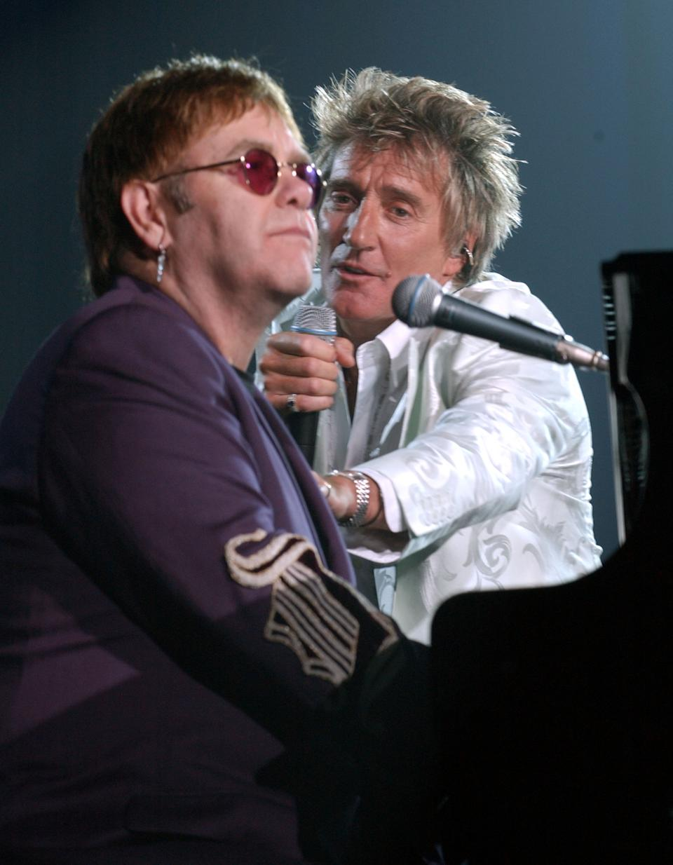 Sir Elton John and Rod Stewart during The Andre Agassi Charitable Foundation's 7th Grand Slam for Children Fundraiser - Show at The MGM Grand Hotel and Casino in Las Vegas, Nevada, United States. (Photo by Denise Truscello/WireImage)