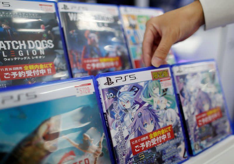 The logos of Sony PlayStation 5 are seen on the package of its' gaming software at the consumer electronics retailer chain Bic Camera in Tokyo