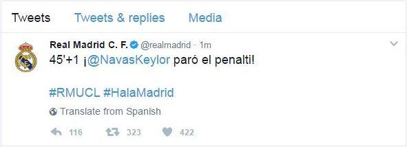 Tuit Real Madrid Keylor