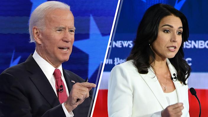 Former Vice President Joe Biden and Rep. Tulsi Gabbard, D-Hawaii. (Photos: Alex Wong/Getty Images, Saul Loeb/AFP via Getty Images)