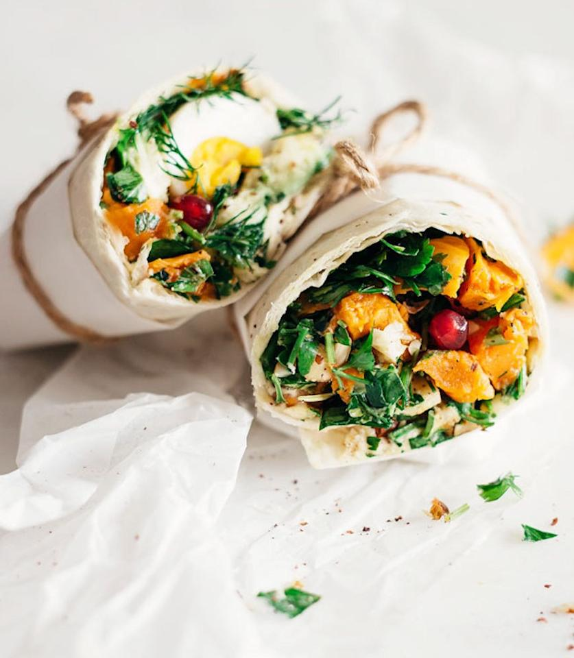 "<p>Repurpose leftover sweet potatoes from the night before in this sweet and savory vegetarian wrap. Get the recipe <a rel=""nofollow"" href=""http://www.theawesomegreen.com/easy-lunch-wrap-with-sweet-potato-hummus-and-greens?mbid=synd_yahoofood"">here</a>.</p><p><b>Per one serving:</b> <em>572 calories, 16 grams protein</em></p>"