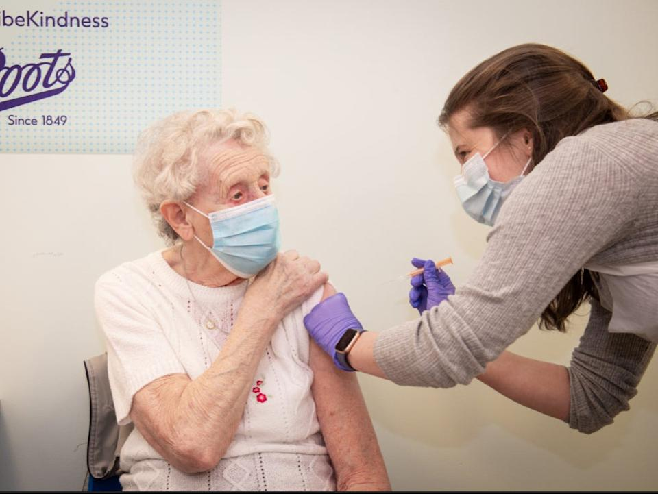 Brenda Clegg, 92, receives the first Oxford-AstraZeneca coronavirus vaccine at Boots in Halifax, West Yorkshire (Boots)