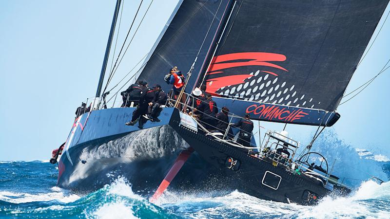 Pictured here is 2019 Sydney to Hobart line honours winner Comanche.