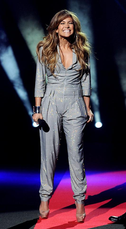 "Hopefully with her new $12 million contract in place, ""American Idol"" judge Jennifer Lopez will be able to afford something other than ill-fitting, sparkly jumpsuits. Kevin Winter/<a href=""http://www.gettyimages.com/"" target=""new"">GettyImages.com</a> - September 22, 2010"
