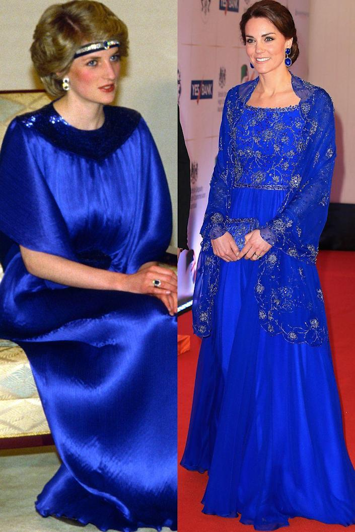 <p>Diana in Yuki before a dinner in Japan in May 1986; Kate in Jenny Packham at a Bollywood gala in Mumbai, India in April 2016.</p>