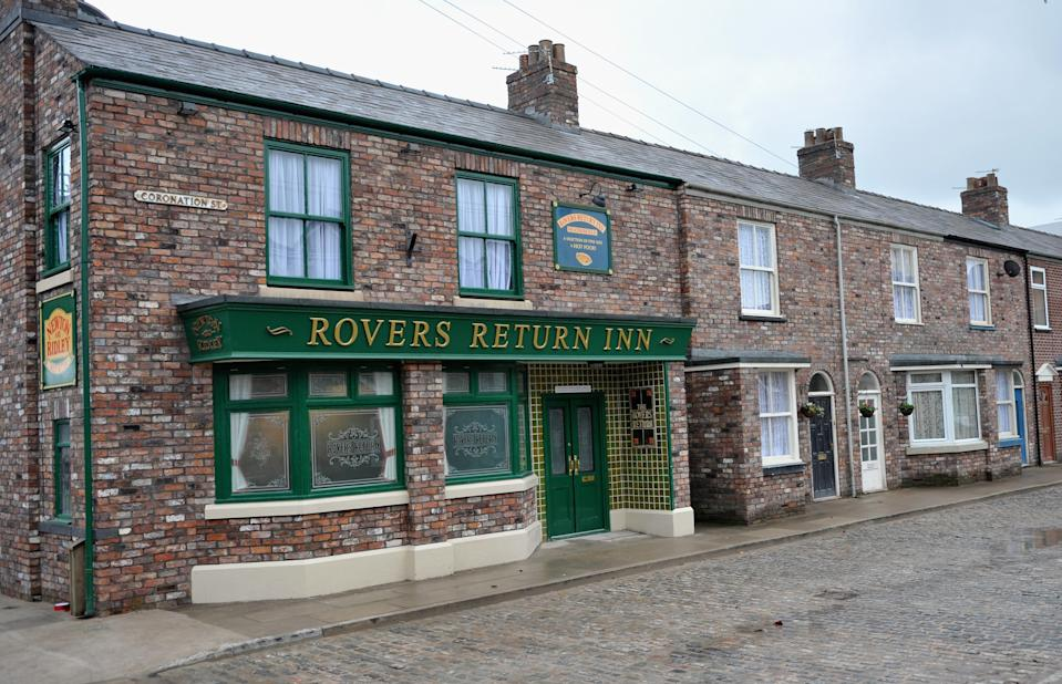 MANCHESTER, ENGLAND - NOVEMBER 29:  General View of the Rovers Return Inn at the new Coronation Street set on November 29, 2013 in Manchester, England.  (Photo by Richard Martin-Roberts/Getty Images)