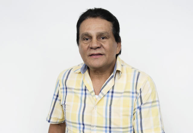 """This Aug. 4, 2016 photo shows boxer Roberto Durán posing for a portrait in New York, to promote the film, """"Hands of Stone."""" The film, about Duran and boxing trainer Ray Arcel, opens on Aug. 26. Durán, who held world championships in four weight classes during his more than three-decade career, has tested positive for the coronavirus but has had only mild symptoms so far, one of his sons said Thursday, June 25, 2020. (Photo by Taylor Jewell/Invision/AP, File)"""