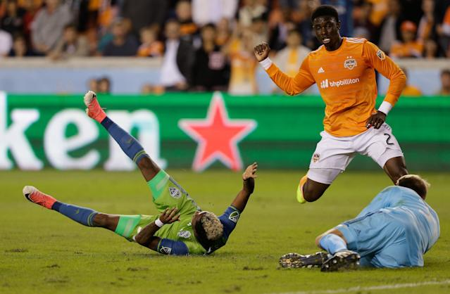 "<a class=""link rapid-noclick-resp"" href=""/soccer/teams/houston-dynamo/"" data-ylk=""slk:Houston Dynamo"">Houston Dynamo</a> defender <a class=""link rapid-noclick-resp"" href=""/soccer/players/jalil-anibaba/"" data-ylk=""slk:Jalil Anibaba"">Jalil Anibaba</a> was sent off for pulling down Seattle Sounders winger <a class=""link rapid-noclick-resp"" href=""/soccer/players/joevin-jones/"" data-ylk=""slk:Joevin Jones"">Joevin Jones</a> in the penalty area. (Getty)"