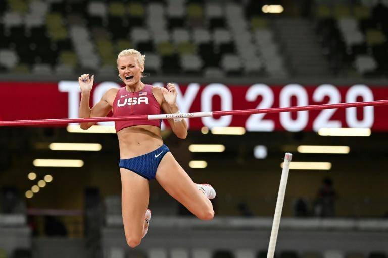 USA's Katie Nageotte won the women's Olympic pole vault title and saved her more celebrated male track team-mates' blushes after they flopped