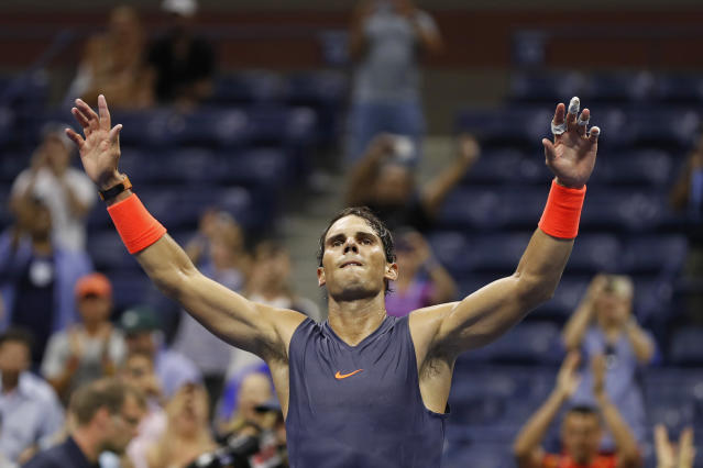 "It took almost five hours, but <a class=""link rapid-noclick-resp"" href=""/olympics/rio-2016/a/1195086/"" data-ylk=""slk:Rafael Nadal"">Rafael Nadal</a> was able to squeak by Dominic Thiem in five-set thriller at the U.S. Open. (AP Foto/Adam Hunger)"