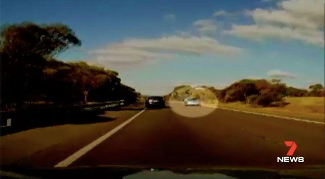An elderly motorist was caught on camera driving the wrong way along an Adelaide Hills freeway. Picture: 7 News