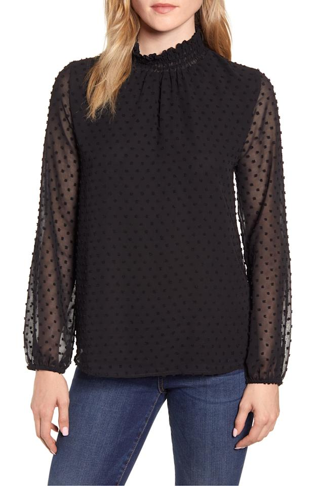 """<p>This <a href=""""https://www.popsugar.com/buy/Gibson-Victorian-Long-Sleeve-Swiss-Dot-Blouse-485924?p_name=Gibson%20Victorian%20Long-Sleeve%20Swiss%20Dot%20Blouse&retailer=shop.nordstrom.com&pid=485924&price=41&evar1=fab%3Aus&evar9=46559802&evar98=https%3A%2F%2Fwww.popsugar.com%2Fphoto-gallery%2F46559802%2Fimage%2F46562606%2FGibson-Victorian-Long-Sleeve-Swiss-Dot-Blouse&list1=shopping%2Cnordstrom%2Clabor%20day%2Csale%20shopping&prop13=api&pdata=1"""" rel=""""nofollow"""" data-shoppable-link=""""1"""" target=""""_blank"""" class=""""ga-track"""" data-ga-category=""""Related"""" data-ga-label=""""https://shop.nordstrom.com/s/gibson-victorian-long-sleeve-swiss-dot-blouse/5300612?origin=category-personalizedsort&amp;breadcrumb=Home%2FSale%2FWomen%2FNew%20Markdowns&amp;color=navy"""" data-ga-action=""""In-Line Links"""">Gibson Victorian Long-Sleeve Swiss Dot Blouse </a> ($41, originally $69) looks cool with jeans.</p>"""