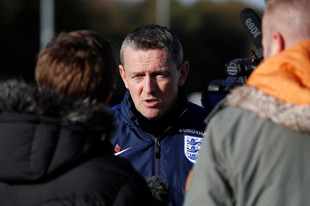 Soccer Football - England Under 21 Training - St. George's Park, Burton upon Trent, Britain - November 8, 2017 England Under 21 manager Aidy Boothroyd is interviewed Action Images via Reuters/Carl Recine