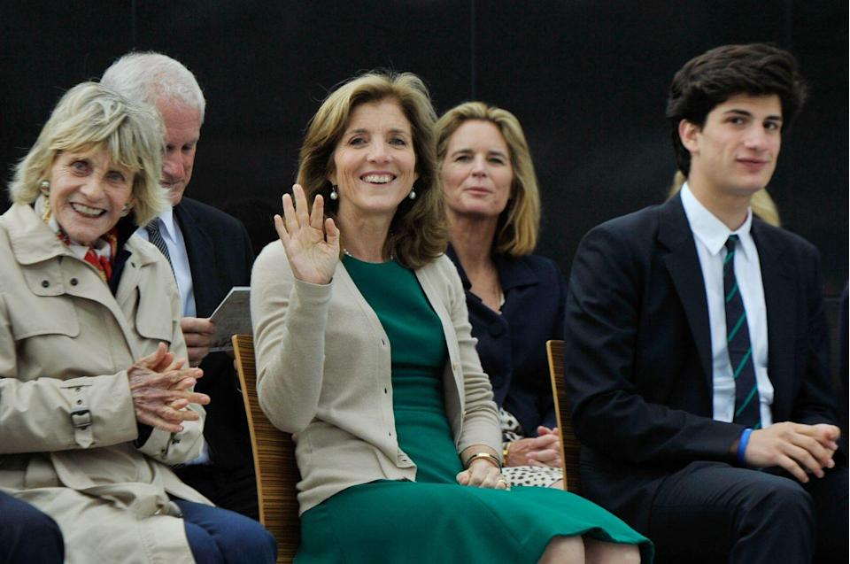 <p>Jean and her niece Caroline as well as Caroline's son Jack Schlossberg attended a ceremony to commemorate the 50th anniversary of JFK's visit to Ireland, the Kennedy family's ancestral home. </p>