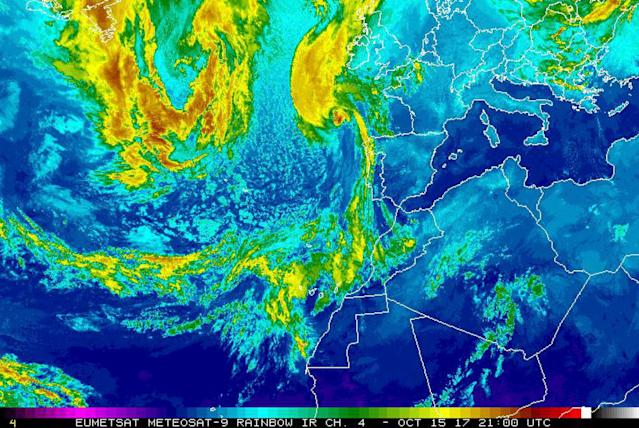 <p>This satellite image released by the National Oceanic and Atmospheric Administration shows Hurricane Ophelia, top center, on Sunday, Oct. 15, 2017, at 21:00 UTC. The remnants of Ophelia could bring 80 mile an hour (130 kilometer an hour) wind gusts, disruption and damage to Ireland and Britain as the work week gets underway, weather services said Sunday. (Photo: NOAA via AP) </p>