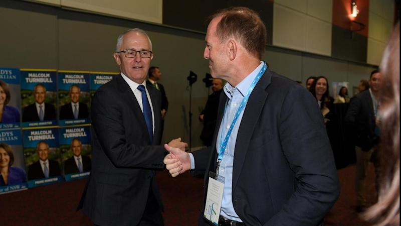 Malcolm Turnbull and Tony Abbott at the NSW Liberals convention, which will vote on party reform.