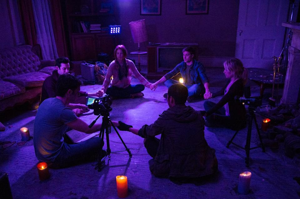 """<p>A group of amateur ghost hunters gets slaughtered while exploring an abandoned haunted house. Now, it's up to a psychologist (Maria Bello) and police officer to figure out what happened.</p> <p>Watch <a href=""""https://www.netflix.com/title/70296443"""" class=""""link rapid-noclick-resp"""" rel=""""nofollow noopener"""" target=""""_blank"""" data-ylk=""""slk:Demonic""""><strong>Demonic</strong></a> on Netflix now.</p>"""