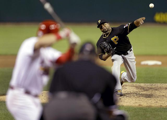 Pittsburgh Pirates starting pitcher Francisco Liriano throws during the eighth inning of a baseball game against the St. Louis Cardinals Wednesday, Aug. 14, 2013, in St. Louis. (AP Photo/Jeff Roberson)