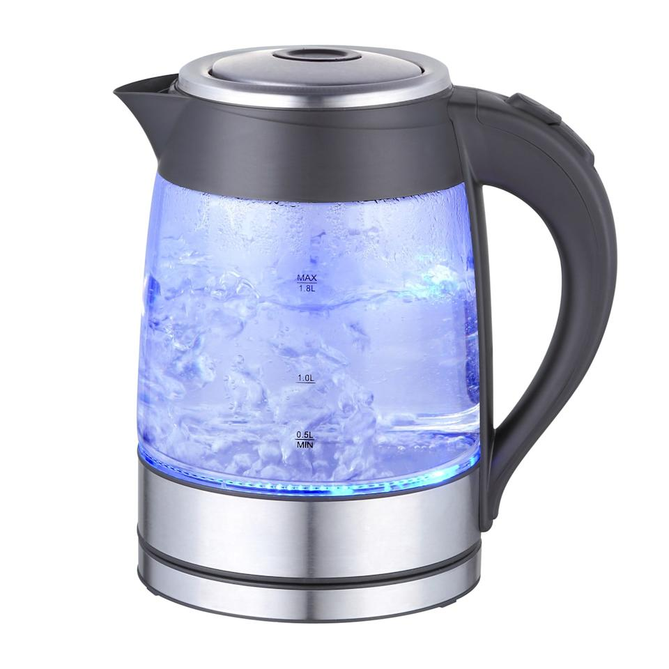 """<p>This <a href=""""https://www.popsugar.com/buy/MegaChef-Glass-Stainless-Steel-Electric-Tea-Kettle-414835?p_name=MegaChef%20Glass%20and%20Stainless%20Steel%20Electric%20Tea%20Kettle&retailer=walmart.com&pid=414835&price=20&evar1=savvy%3Aus&evar9=45914401&evar98=https%3A%2F%2Fwww.popsugar.com%2Fsmart-living%2Fphoto-gallery%2F45914401%2Fimage%2F45914589%2FMegaChef-Glass-Stainless-Steel-Electric-Tea-Kettle&list1=shopping%2Cgadgets%2Cwalmart%2Ckitchen%20tools%2Ckitchens%2Cshopping%20guide&prop13=mobile&pdata=1"""" rel=""""nofollow"""" data-shoppable-link=""""1"""" target=""""_blank"""" class=""""ga-track"""" data-ga-category=""""Related"""" data-ga-label=""""https://www.walmart.com/ip/MegaChef-1-8Lt-Glass-and-Stainless-Steel-Electric-Tea-Kettle/125519007"""" data-ga-action=""""In-Line Links"""">MegaChef Glass and Stainless Steel Electric Tea Kettle</a> ($20) will give you boiling water in minutes. It's changed this tea-loving editor's life.</p>"""