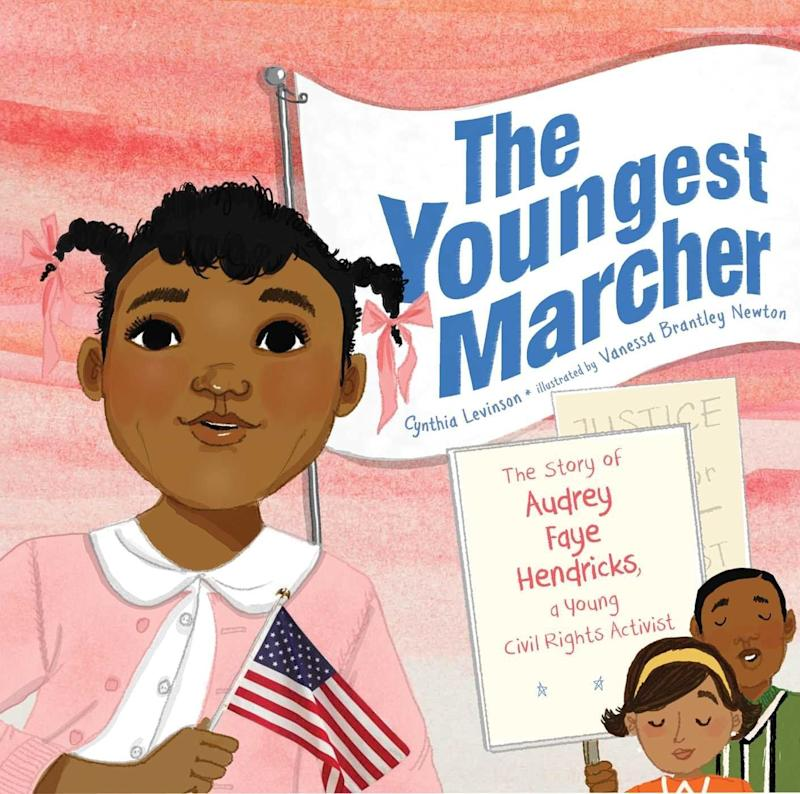 "In <i>The Youngest Marcher</i>, kids will meet <a href=""https://www.pbslearningmedia.org/resource/iml04.soc.ush.civil.ahendric/audrey-hendricks/#.WqvzV5PwaqA"" target=""_blank"">Audrey Faye Hendricks</a>, a Civil Rights activist who taught the world you're never too young to make a difference. (By Cynthia Levinson, illustrated by Vanessa Brantley Newton)"