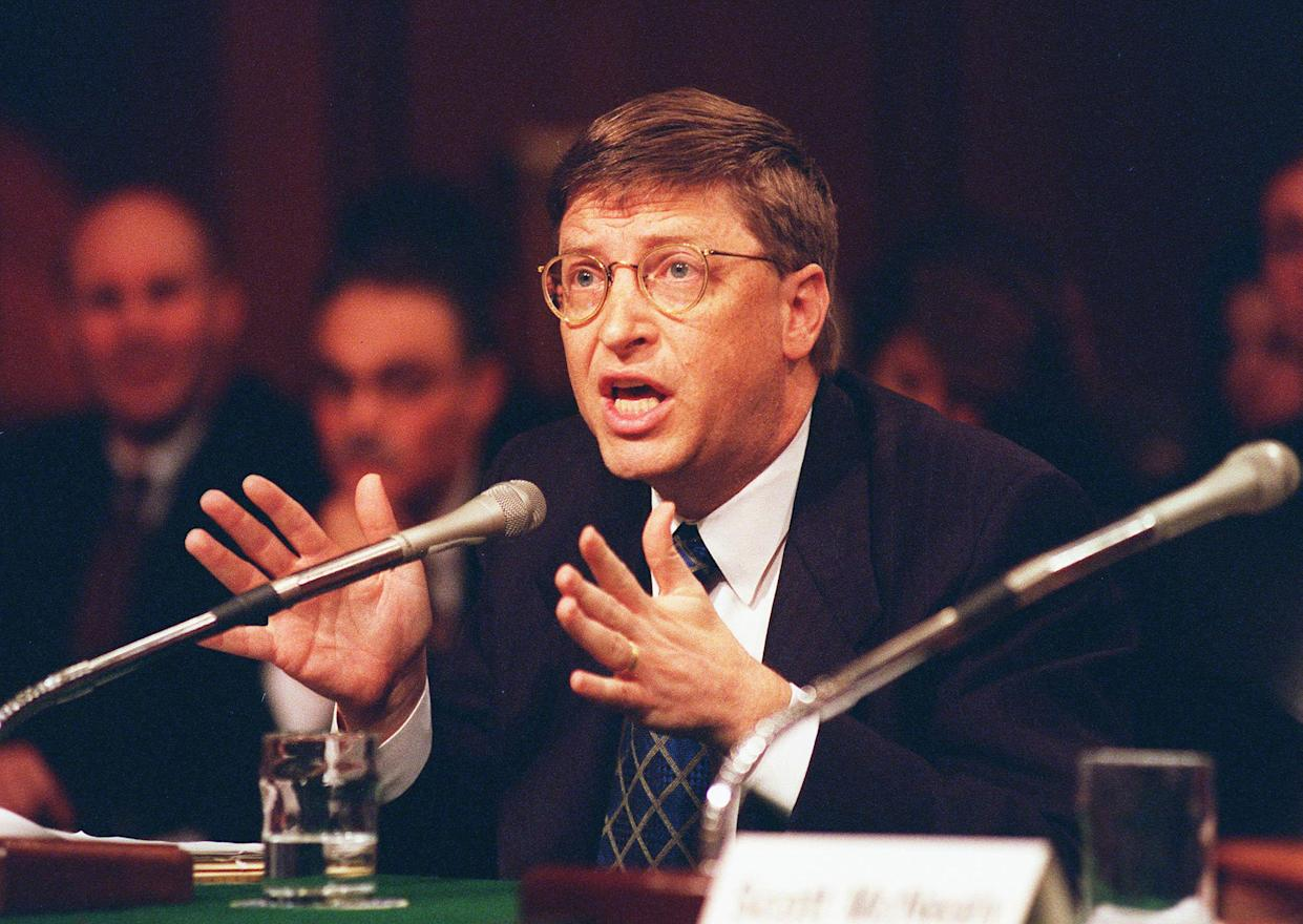 Bill Gates then chairman and CEO,Microsoft Corp., during a Senate Judiciary Committee hearing on market power and structural change in the software industry,focusing on competition and antitrust issues. March 3, 1998. (Photo by Douglas Graham/Congressional Quarterly/Getty Images)