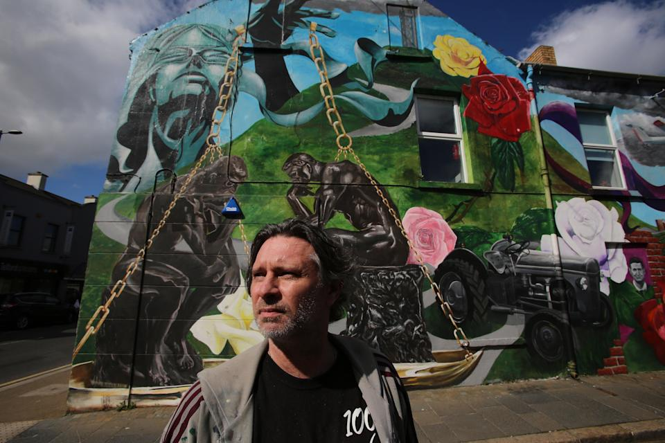 Ervine stands in front of his latest commission in the County Down town of NewtownardsPaul McErlane