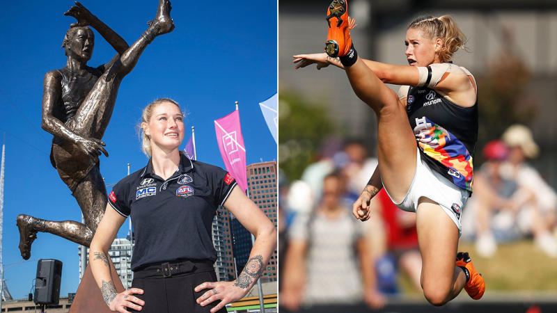 Tayla Harris, pictured here with her statue and during her iconic kick.