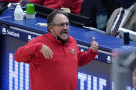 New Orleans Pelicans head coach Stan Van Gundy reacts in the second half of an NBA basketball game against the Utah Jazz in New Orleans, Monday, March 1, 2021. (AP Photo/Gerald Herbert)