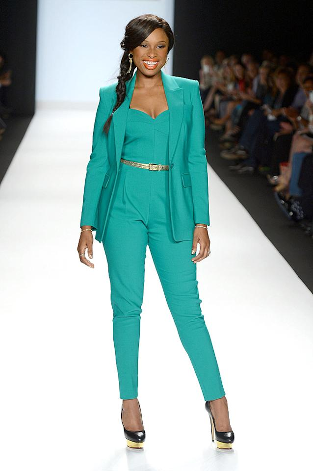 "<a target=""_blank"" href=""http://omg.yahoo.com/photos/celeb-birthdays-september-12-2012-slideshow/"">Jennifer Hudson</a> was all smiles as she hit the runway in a teal Michael Kors jumpsuit and matching blazer during Mercedes-Benz Fashion Week in NYC. The Oscar-winning actress -- who was on hand to judge the ""Project Runway"" finale -- accessorized with a gold python belt, $1,000 Charlotte Olympia platform pumps, and her signature smile. A side pony and coral-colored lipstick completed her flawless look. (9/7/2012)<br><br><a target=""_blank"" href=""http://omg.yahoo.com/photos/ny-fashion-week-1347312434-slideshow/"">Celebs hit New York Fashion Week</a>"