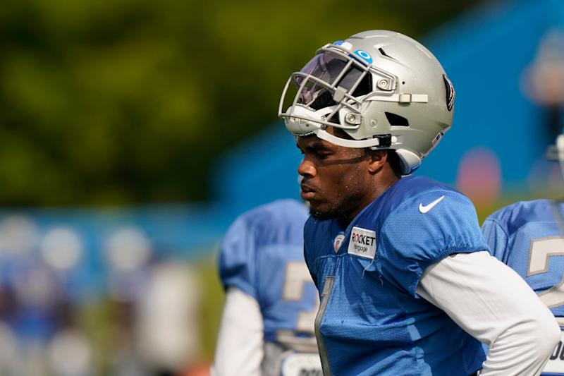 Detroit Lions cornerback Jeff Okudah takes a break at practice, Tuesday, Sept. 1, 2020, in Allen Park.