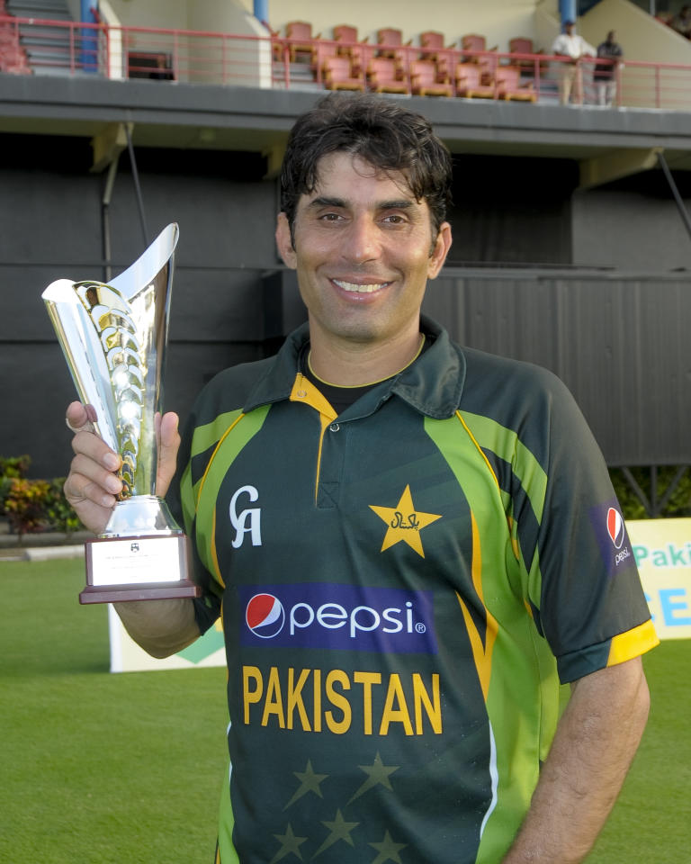 Pakistan captain Misbah-ul-Haq with the series trophy at the end of the 5th and final ODI West Indies v Pakistan at Beausejour Cricket Ground, St. Lucia on July 24, 2013 at Beausejour Cricket Ground, in Gros Islat, St. Lucia. The score was Score, WI 242/7, 243/6 (49.5 ov), Pakistan won by 4 wickets, withy one ball remaining.      AFP PHOTO / RANDY BROOKS        (Photo credit should read RANDY BROOKS/AFP/Getty Images)