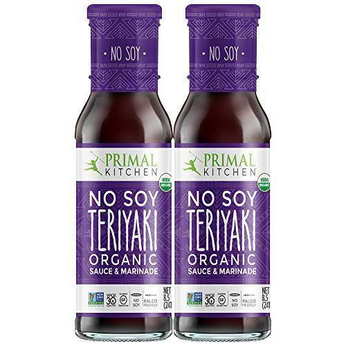 """<p><strong>Primal Kitchen</strong></p><p>amazon.com</p><p><strong>$16.97</strong></p><p><a href=""""https://www.amazon.com/dp/B07RS4V4VC?tag=syn-yahoo-20&ascsubtag=%5Bartid%7C10055.g.32971830%5Bsrc%7Cyahoo-us"""" rel=""""nofollow noopener"""" target=""""_blank"""" data-ylk=""""slk:Shop Now"""" class=""""link rapid-noclick-resp"""">Shop Now</a></p><p>We love Primal Kitchen's line of sauces and condiments, and this no-soy teriyaki is unique to other sauces on the market. <strong>Made with coconut aminos and 100% USDA organic, it tastes great and gets its sweetness from dates and orange juice. </strong>A one-tablespoon serving has only 15 calories, 3 grams of carbs, and 220mg sodium (much better than typical teriyaki sauces available). </p>"""