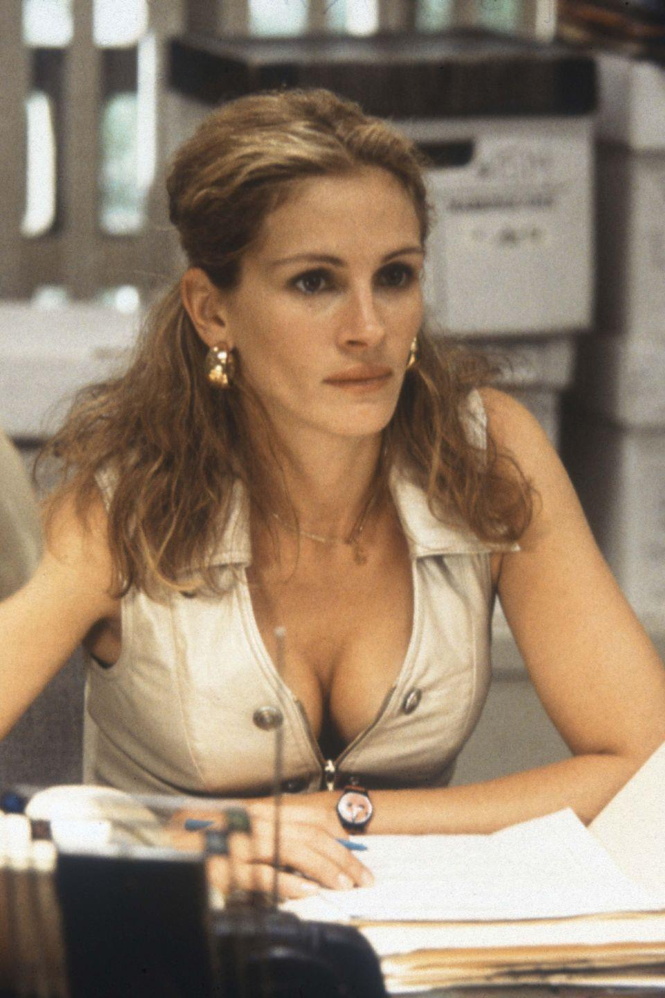 <p>Famed for her no-nonsense attitude, something which was definitely reflected in her wardrobe, Julia Roberts' portrayal of legal assistant Erin Brokovich is a great reference point.</p>