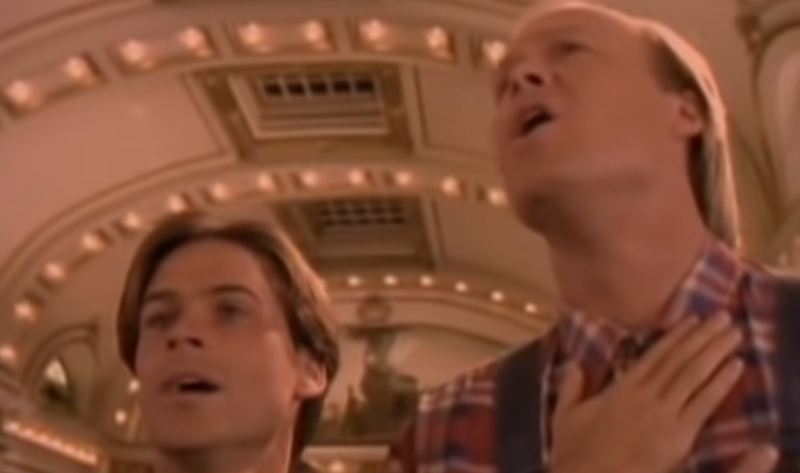 Rob Lowe and Bill Fagerbakke sing the National Anthem in 'The Stand' (Photo: ABC/YouTube)