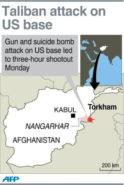 A map locating Torkham in eastern Afghanistan. Taliban suicide bombers and gunmen dressed as Afghan police attacked a US base near the Pakistani border on Monday and set dozens of parked NATO supply vehicles ablaze, officials said