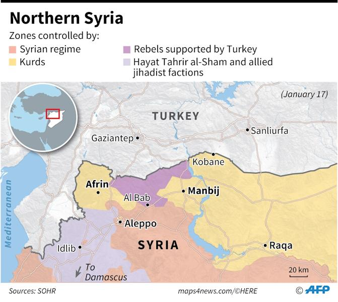 Map of northwestern Syria showing zones controlled by various factions. (AFP Photo/Thomas SAINT-CRICQ, Sophie RAMIS, Simon MALFATTO, Laurence SAUBADU)