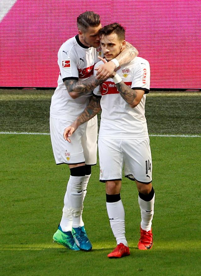 Soccer Football - Bundesliga - Bayern Munich v VfB Stuttgart - Allianz Arena, Munich, Germany - May 12, 2018 Stuttgart's Anastasios Donis celebrates scoring their second goal REUTERS/Michaela Rehle DFL RULES TO LIMIT THE ONLINE USAGE DURING MATCH TIME TO 15 PICTURES PER GAME. IMAGE SEQUENCES TO SIMULATE VIDEO IS NOT ALLOWED AT ANY TIME. FOR FURTHER QUERIES PLEASE CONTACT DFL DIRECTLY AT + 49 69 650050