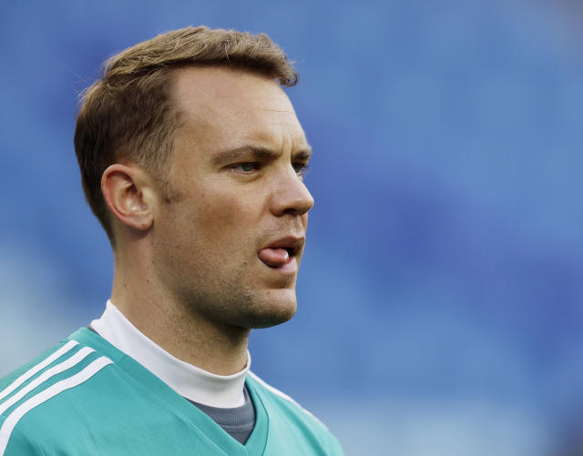 Germany goalkeeper Manuel Neuer looks on during a training session of the German national soccer team on the eve of their Group F match against Sweden, during the 2018 soccer World Cup in Sochi, Russia, Friday, June 22, 2018. (AP Photo/Michael Probst)