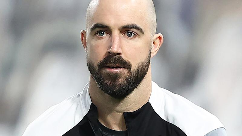 Steele Sidebottom, pictured here in action for Collingwood in Round 2 of the AFL season.