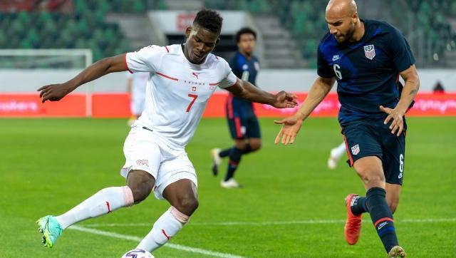 The pacy, powerful and versatile Breel Embolo (left) is a fan favourite in Switzerland. AP
