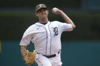 Detroit Tigers pitcher Matthew Boyd throws against the Chicago Cubs in the first inning of a baseball game in Detroit, Sunday, May 16, 2021. (AP Photo/Paul Sancya)