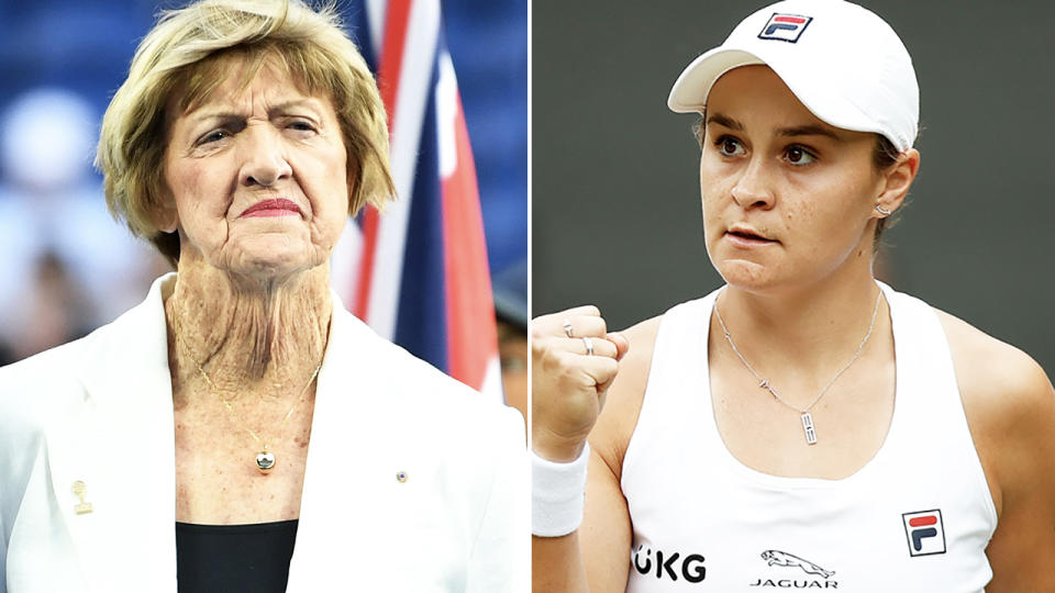 Ash Barty, pictured here in action during the Wimbledon final.