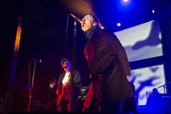 Andy Bell and Liam Gallagher of Beady Eye perform on stage at Razzmatazz on February 13, 2014 in Barcelona, Spain. (Photo by Jordi Vidal/Redferns via Getty Images)