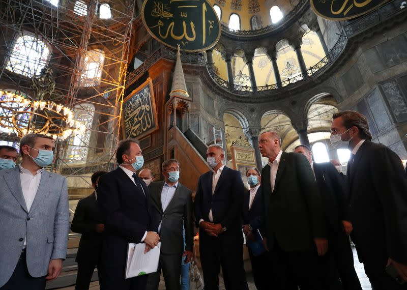 Hagia Sophia mosaics will be covered with curtains during prayers - Turkish presidential spokesman