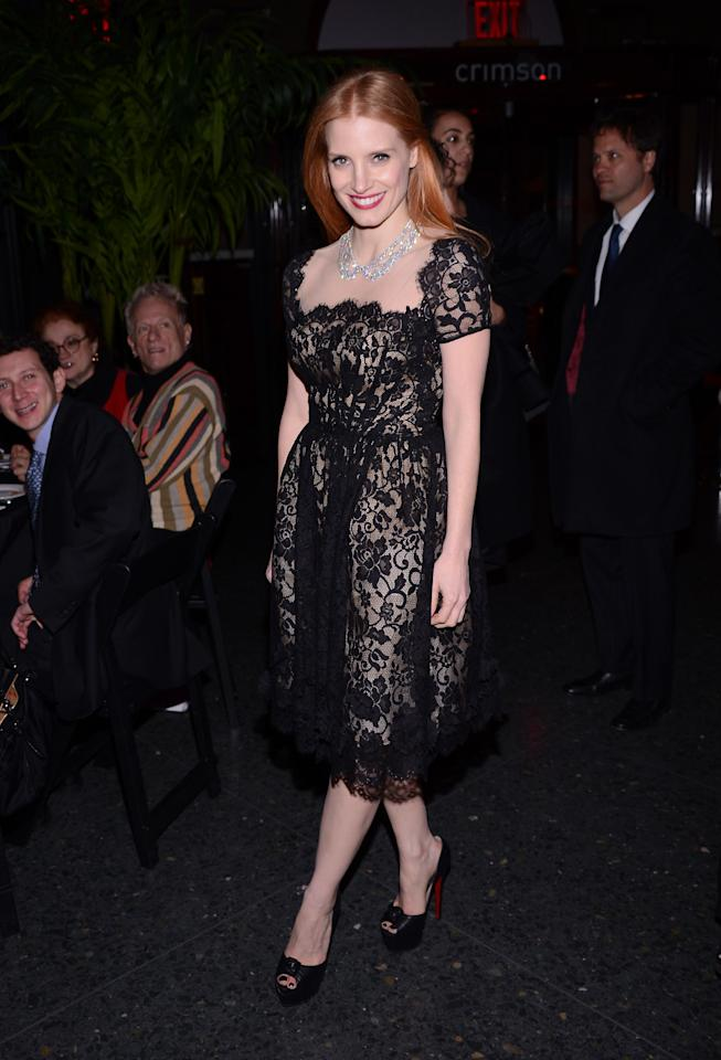 NEW YORK, NY - JANUARY 07:  Actress Jessica Chastain attends the 2012 New York Film Critics Circle Awards at Crimson on January 7, 2013 in New York City.  (Photo by Stephen Lovekin/Getty Images)