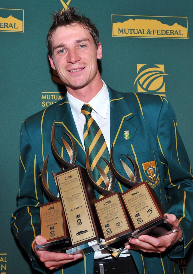 JOHANNESBURG, SOUTH AFRICA - JUNE 17: Dale Steyn of South Africa poses with his four awards, including the Cricketer of the Year Award, during the Mutual and Federal South African Cricket awards at the Sandton Convention Centre on June 17, 2008 in Johannesburg, South Africa. (Photo by Duif du Toit/Gallo Images/Getty Images)