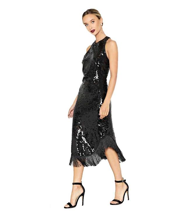 Black sequin fringe dress. (Photo: Nasty Gal)