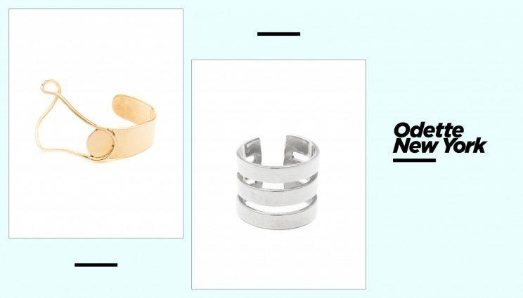 Odette New York Miro cuff, left, and Triple Rohe ring. (Photo: Courtesy of Odette New York)