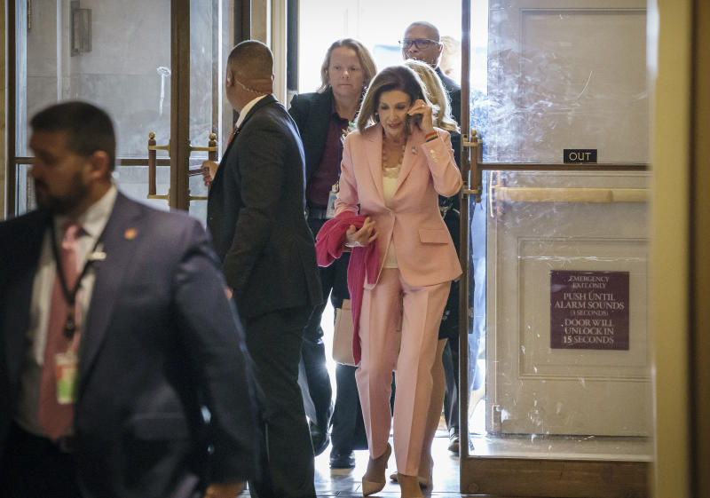 Speaker of the House Nancy Pelosi, D-Calif., arrives at the Capitol in Washington, as she manages the impeachment inquiry of President Donald Trump, Friday, Sept. 27, 2019. (AP Photo/J. Scott Applewhite)